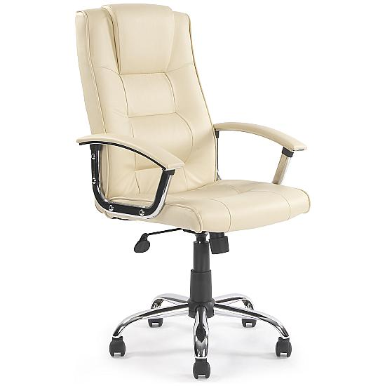 Melbourne Soft Touch Cream Leather Manager Chair