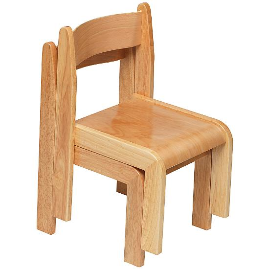 Natural Wooden Stacking Chairs (Pack of 2) - Education Furniture