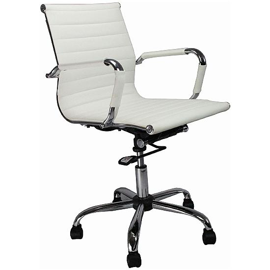Flare Leather Effect Chair White