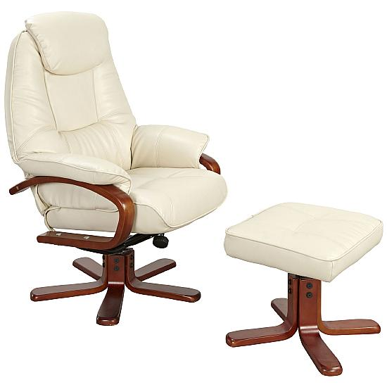 Quaker Leather Recliner Cream - Office Chairs