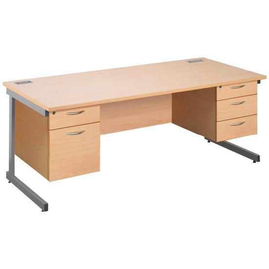 Next Day Eco Cantilever Rectangular Desks With Double Fixed Pedestals