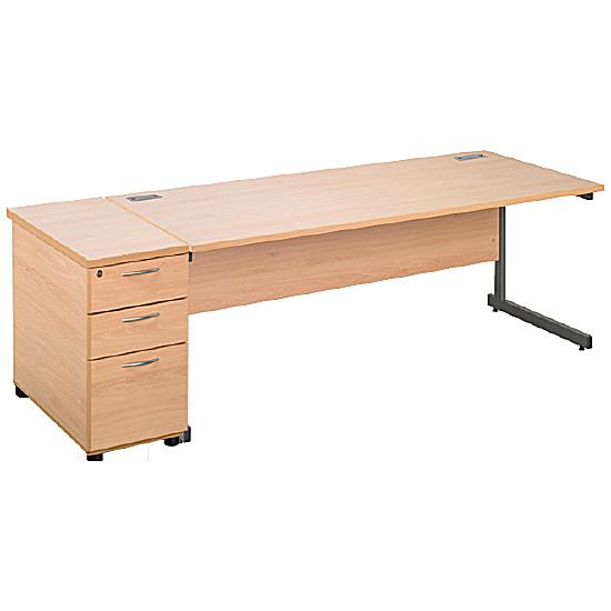 Next Day Eco Cantilever Rectangular Desks With Desk High Mobile Pedestal
