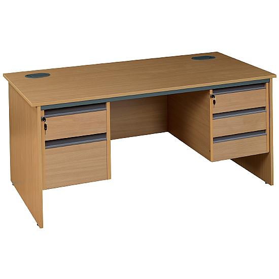 Next Day Pinnacle Rectangular Panel End Desk With Double Fixed Pedestals