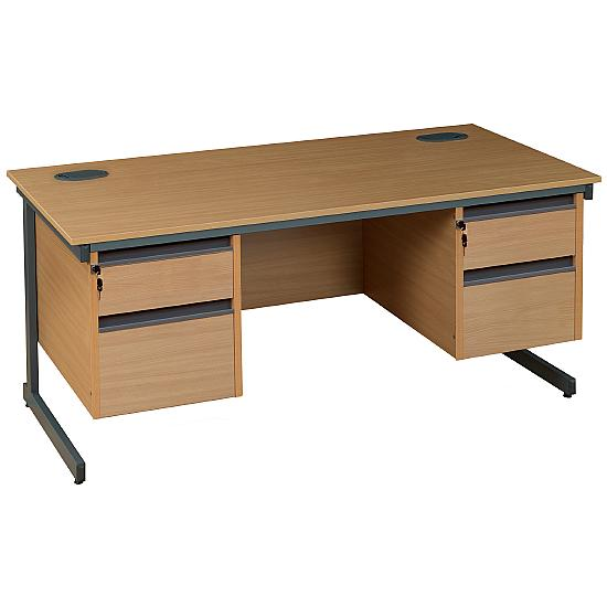 Next Day Pinnacle Plus Rectangular Cantilever Desk With Double Fixed Pedestals