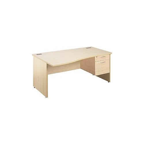 Eco Panel End 1600 Wave Desks With Single Fixed Pedestal