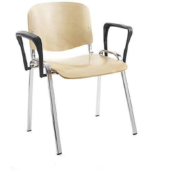 Fleet Chrome Frame Conference Armchair Beech (Pack of 4) - Office Chairs