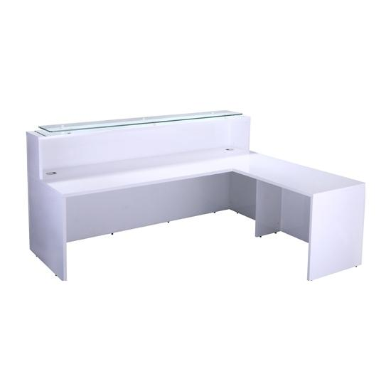 Concerto White Gloss Reception Desk Complete With