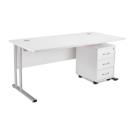 Next Day White Contract Rectangular Desk With Mobile Pedestal