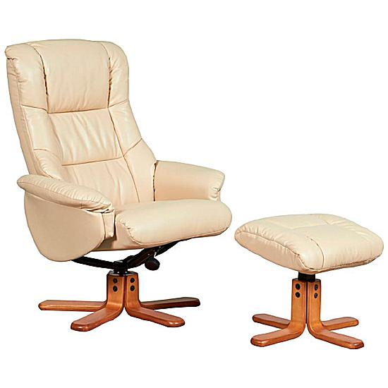 Almond Leather Recliner Cream