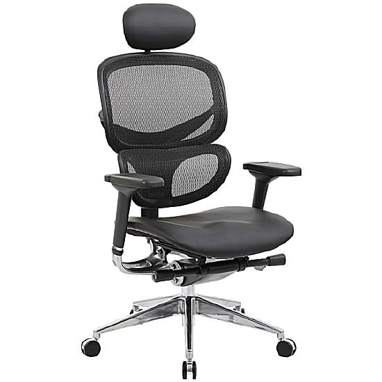 Ergo-Mesh 24 Hour Office Chair With Leather Seat &