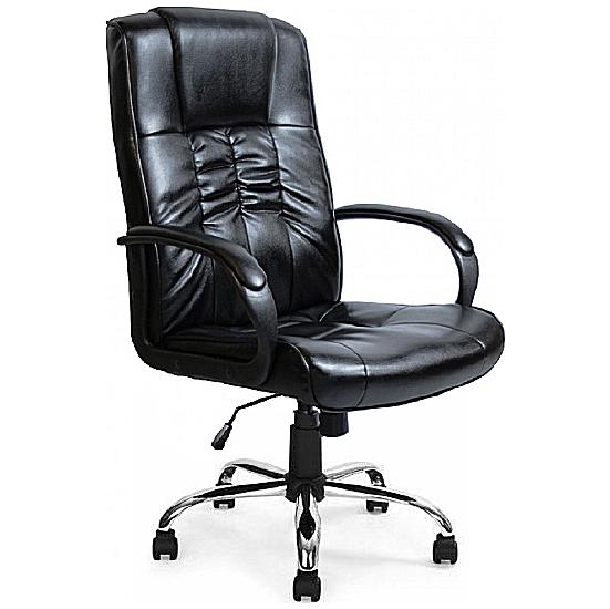 Turin Chrome Soft Touch Leather Manager Chair