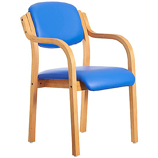Lisbon Wooden Frame Vinyl Stacking Armchair | Visitor Chairs