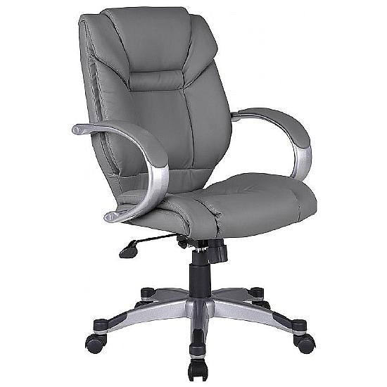 Bailey Grey Leather Executive Chair - Office Chairs