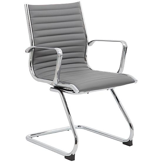 Dura Grey Leather Visitor Chair - Office Chairs