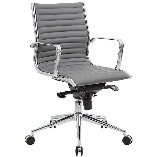 Dura Medium Back Grey Leather Office Chairs - Office Chairs