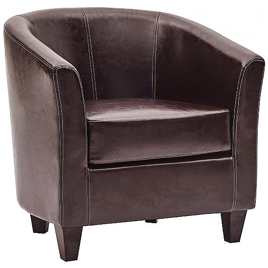 Paisley Bonded Leather Tub Chair - Office Chairs