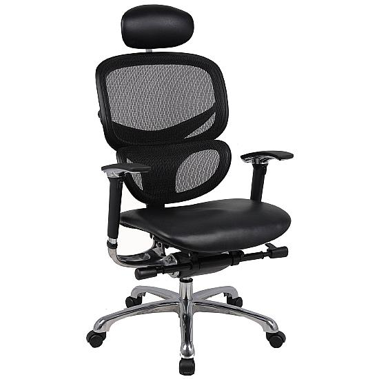 Active 24hr Ergonomic Mesh Back With Leather Seat  (With Headrest) - Office Chairs