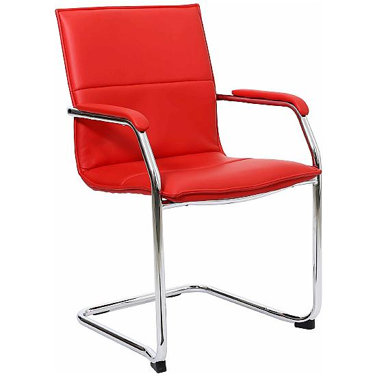 Essence Red Leather Visitor Chair (Pack of 2) - Office Chairs