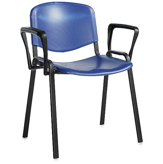 Fleet Black Frame Plastic Conference Chair With Arms(Pack of 4) - Meeting Room Chairs