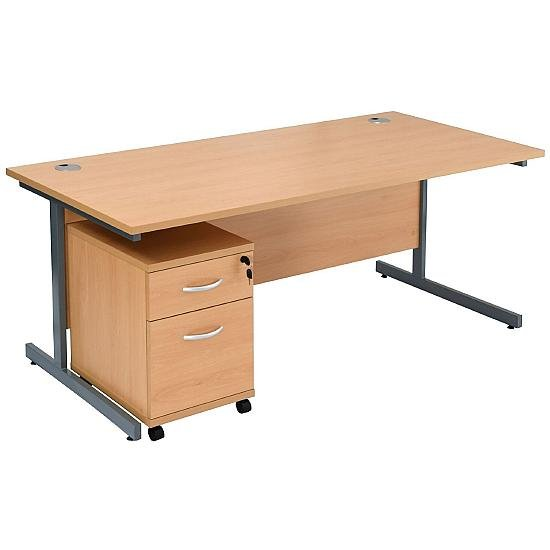 Next Day Start Cantilever Rectangular Desk with Under Mobile Pedestal - Office Desks