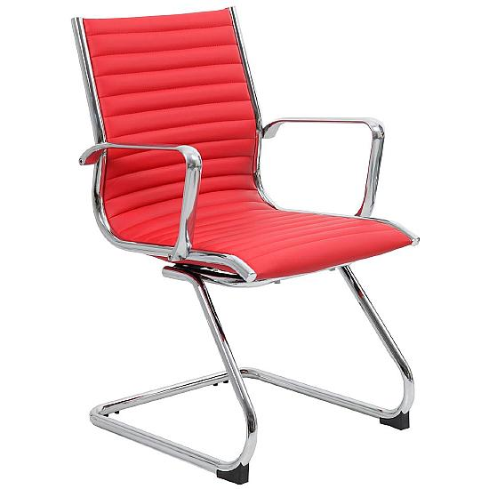 Dura Red Leather Visitor Chair - Office Chairs