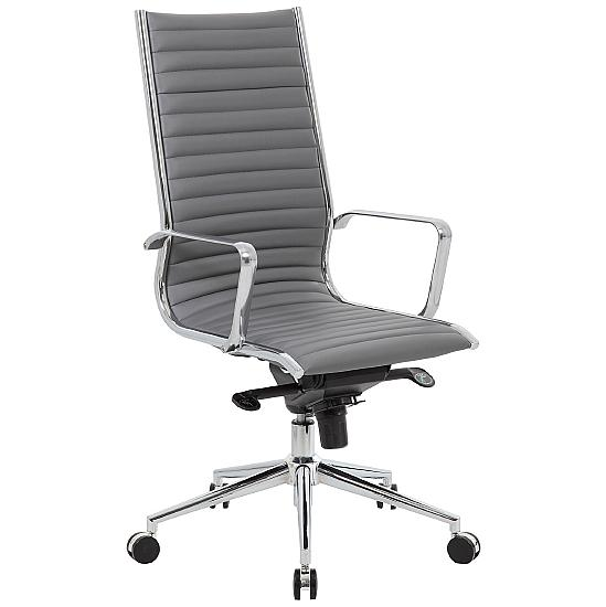 Dura High Back Grey Leather Office Chairs - Office Chairs