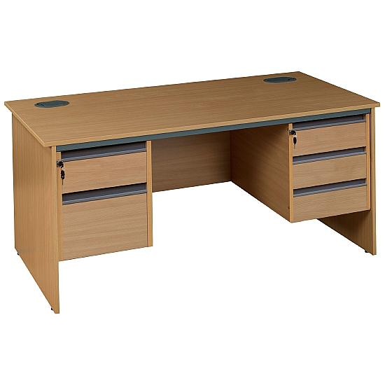 Pinnacle Rectangular Panel End Desk With Double Fixed Pedestals - Office Desks