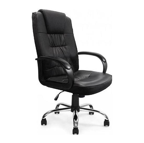 Venice Black Leather Chrome Manager Chair - Office Chairs