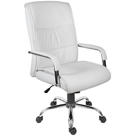 Kendal White Leather Managers Chair - Office Chairs