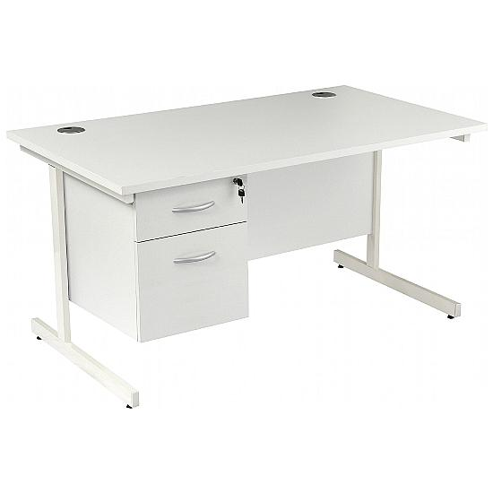 Next Day Start Cantilever Rectangular Desk with Single Fixed Pedestal - Office Desks