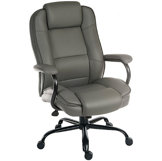 Goliath 24 Hour 27 Stone Grey Leather Manager Chair - Office Chairs