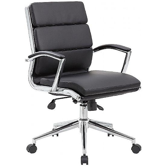 Venice Medium Back Leather Faced Managers Chair - Office Chairs
