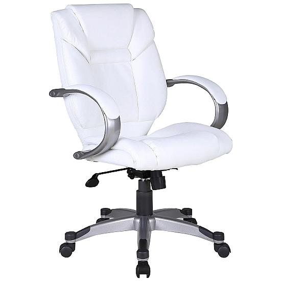 Bailey White Leather Executive Chair