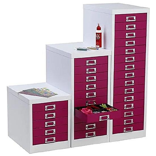 Silverline Two Tone Multi Drawer Cabinets - Office Furniture