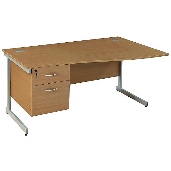 Cantilever Wave Desks With Single Fixed Pedestal
