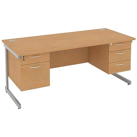 Rectangular Desks With Double Fixed Pedestals