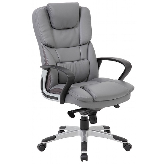 Airgo Grey High Back Leather Managers Chair