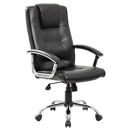 York High Back Black Leather Faced Office Chair
