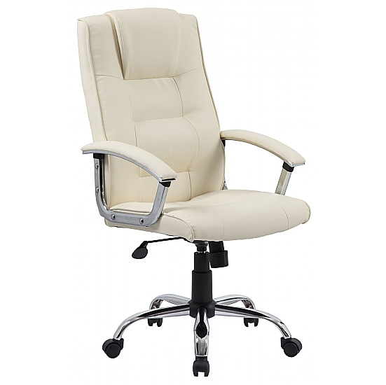 York High Back Cream Leather Faced Office Chair