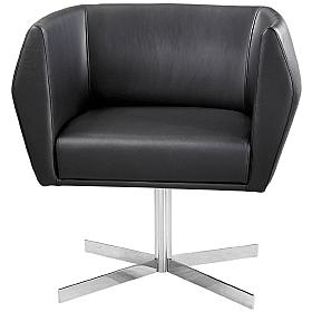 Premium HB1 Collection Leather Reception Chair With Vertical Cruciform Legs
