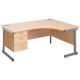 Cantilever Ergonomic Desks With Fixed Pedestal