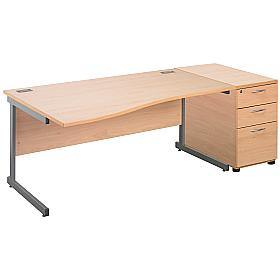 Cantilever Wave Desks With Desk High Mobile Ped