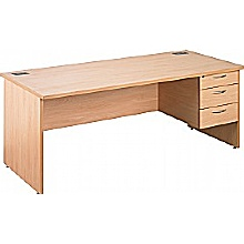 Eco Panel End Rectangular Desks With Single Fixed Pedestal