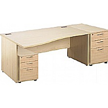 Panel End Wave Desks With Mobile and Desk High Ped