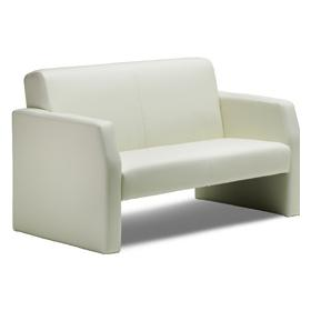 Brooks White Leather 2 Seater Reception Chair