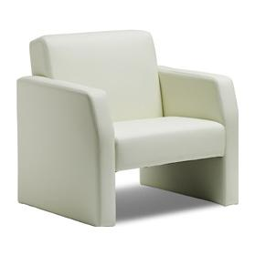 Brooks White Leather Reception Chair