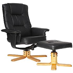Drake Leather Recliner Black