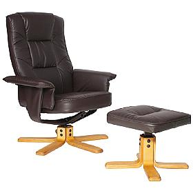 Drake Leather Recliner Brown