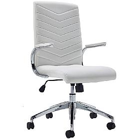 Martinez White Executive Leather Faced Chair