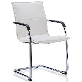 Kilo White Leather Visitor Chair